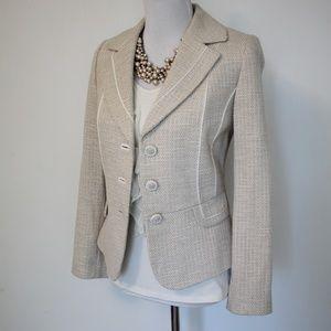 ANTONIO MELANI Size 8 Ivory Beige Tweed Blazer